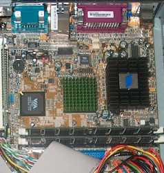 The motherboard in all its diminutive glory...
